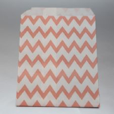 Vintage pink Chevron Party bitty bags Set of 25/ Vintage ροζ ζικζακ χαρτινα σακουλακια Σετ των 25